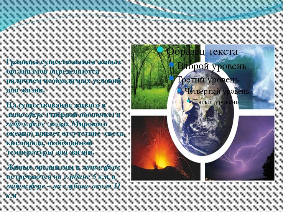 Границы существования живых организмов определяются наличием необходимых усло...
