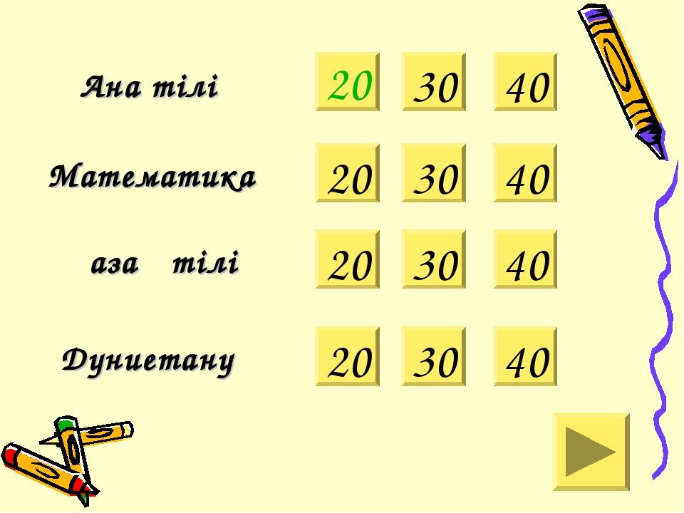 20 Ана тілі Математика 30 40 Қазақ тілі Дүниетану 20 30 40 20 30 40 20 30 40