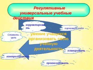 Регулятивные универсальные учебные действия Ставить цель планировать прогноз