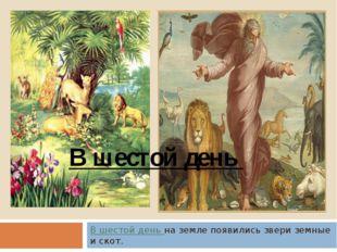 В шестой день на земле появились звери земные и скот. В шестой день