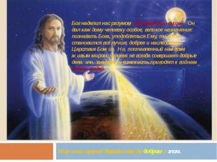 . Мир стал ареной борьбы между добром и злом. Бог наделил нас разумом, бессме