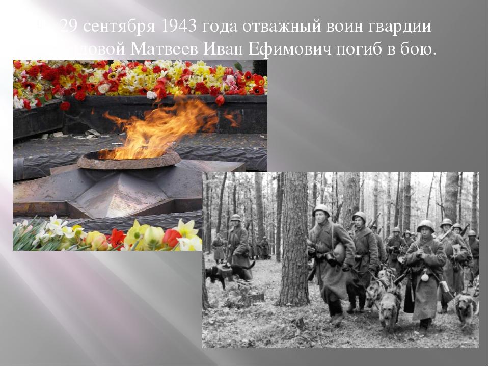 29 сентября 1943 года отважный воин гвардии рядовой Матвеев Иван Ефимович пог...