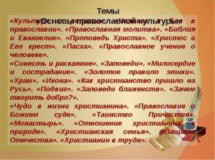 «Культура и религия». «Человек и Бог в православии». «Православная молитва».