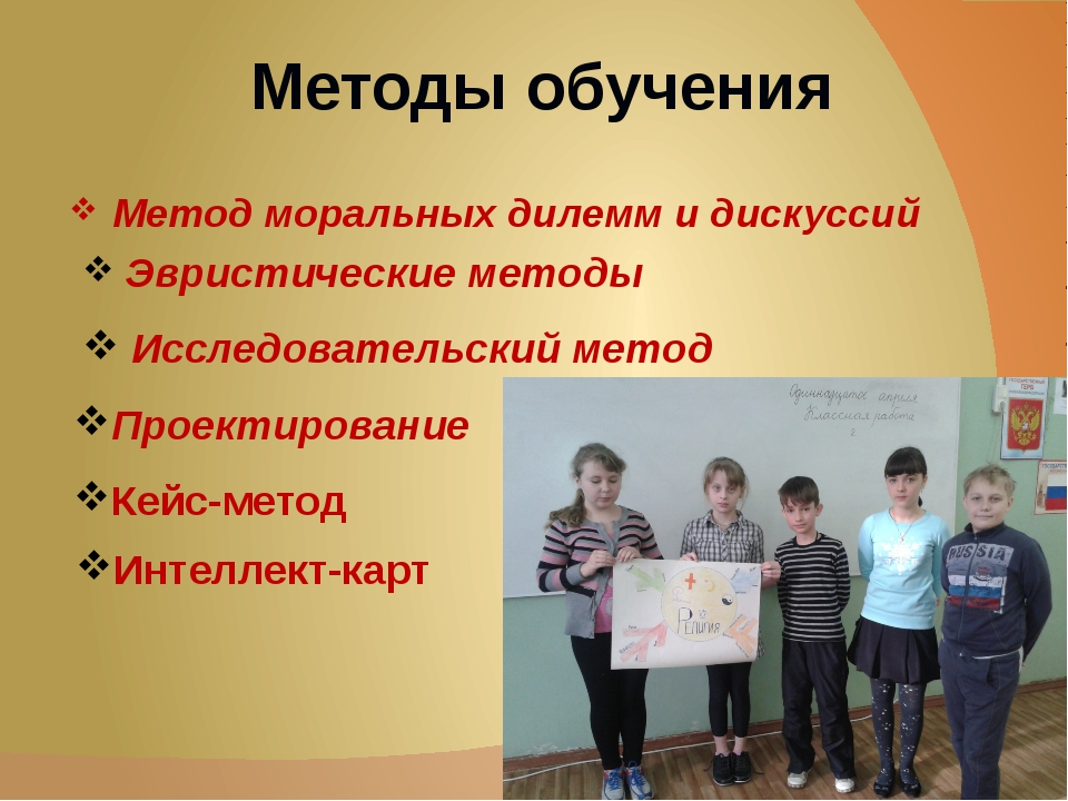 Методы обучения Метод моральных дилемм и дискуссий Исследовательский метод Эв...