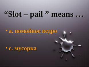 """Slot – pail "" means … a. помойное ведро c. мусорка"