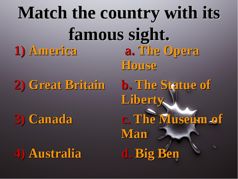 Match the country with its famous sight.