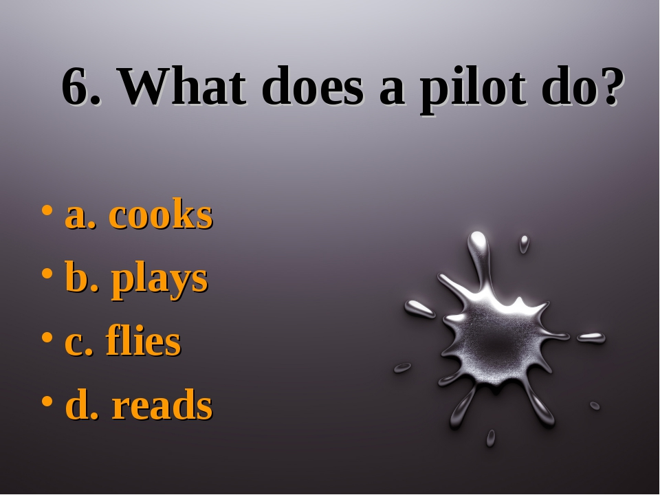 6. What does a pilot do? a. cooks b. plays c. flies d. reads