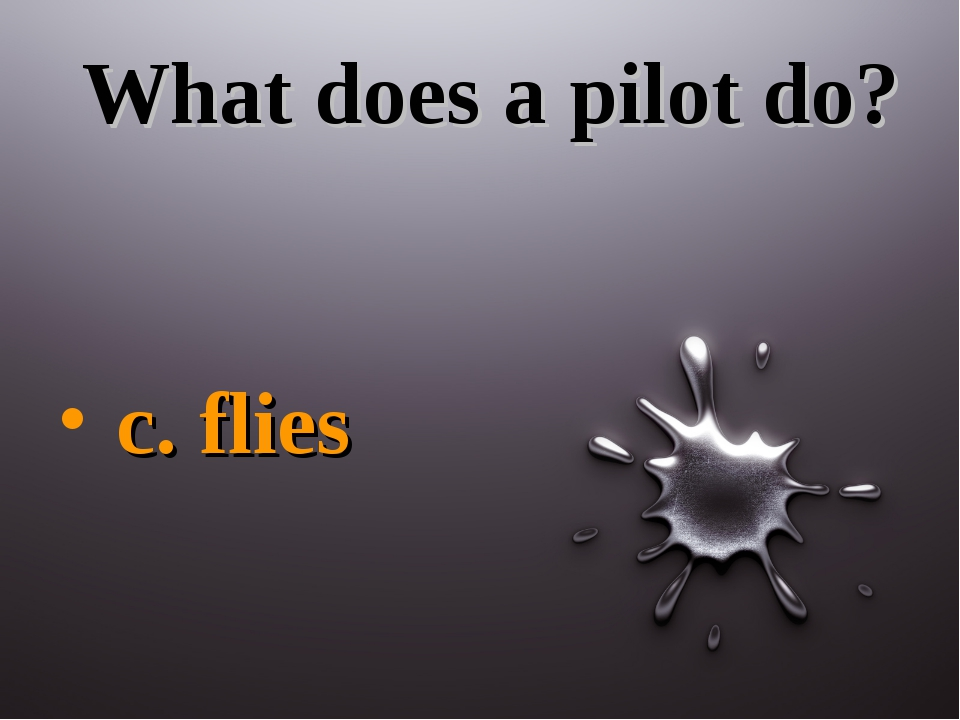 What does a pilot do? c. flies
