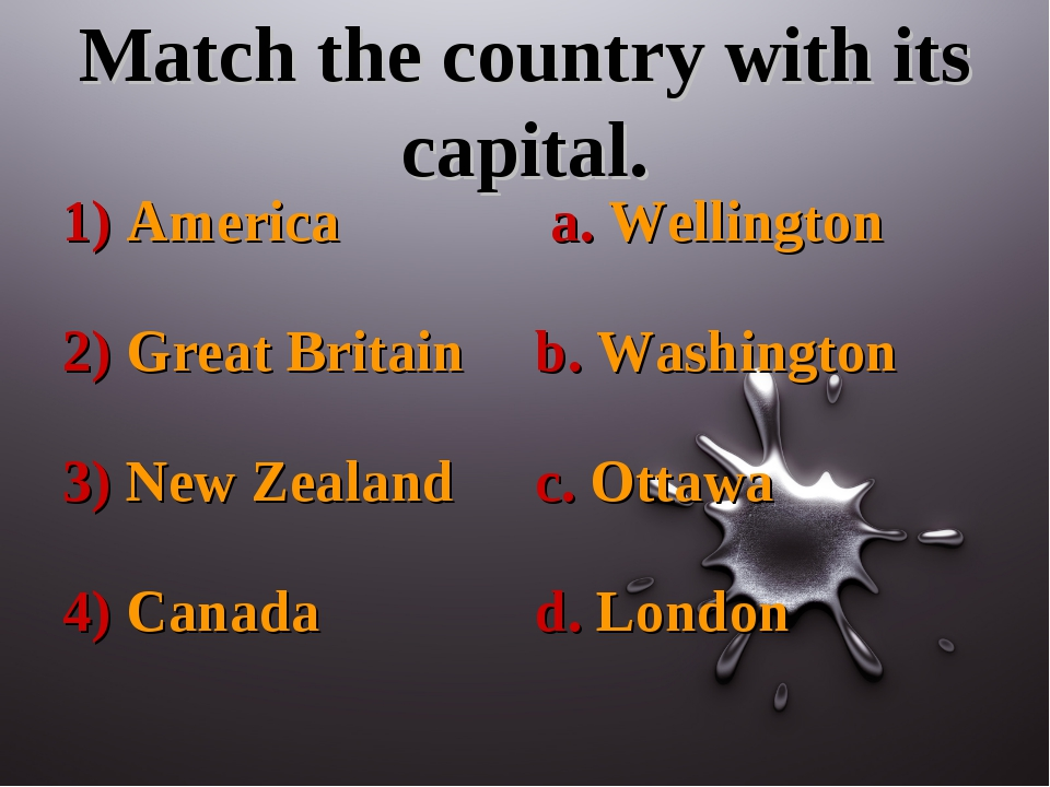 Match the country with its capital.