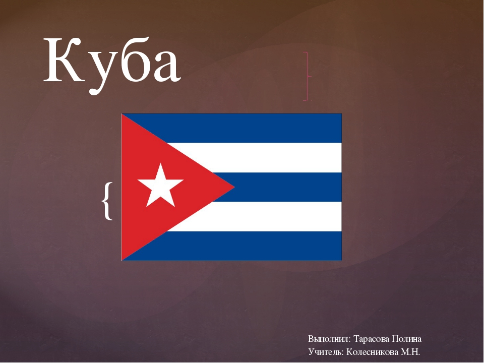 Куба Выполнил: Тарасова Полина Учитель: Колесникова М.Н. {