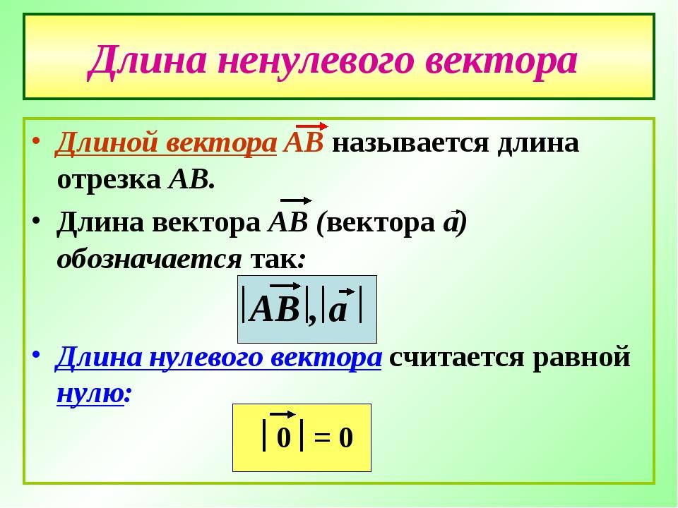 Длина ненулевого вектора Длиной вектора АВ называется длина отрезка АВ. Длина...