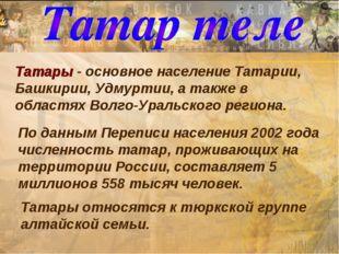 Татары - основное население Татарии, Башкирии, Удмуртии, а также в областях В