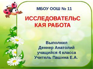 Выполнил Деннер Анатолий учащийся 4 класса Учитель Пашина Е.А. МБОУ ООШ № 11