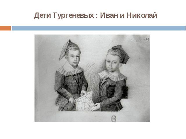 Дети Тургеневых : Иван и Николай