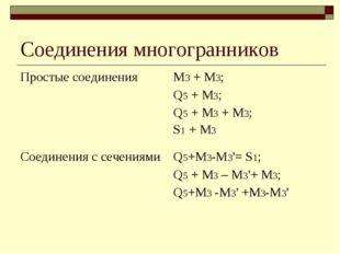 Соединения многогранников Простые соединенияМ3+ М3; Q5+ M3; Q5+ M3+ M3;