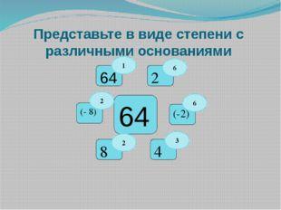 Представьте в виде степени с различными основаниями 64 8 4 64 (-2) 2 (- 8) 6