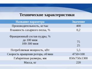 Технические характеристики № п/пНазвание параметраЗначение 1Производительн