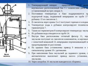 Темперирующий аппарат представляет собой цилиндрический вертикально располож