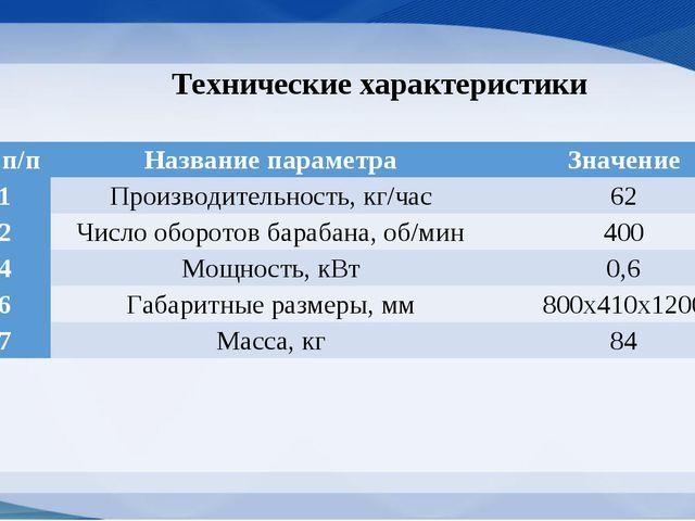 Технические характеристики № п/пНазвание параметраЗначение 1Производительн...