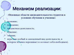 Механизм реализации: Основные области жизнедеятельности студентов в условиях