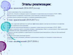 Этапы реализации: 1 этап- проектный (2014-2015 уч.год) Задачи: Изучить нормат