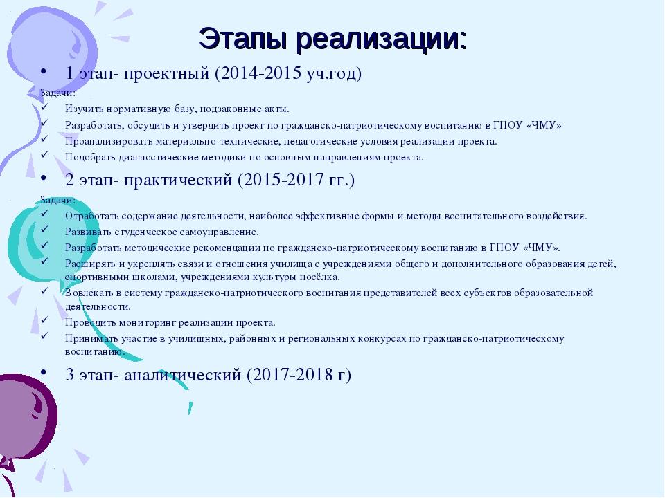 Этапы реализации: 1 этап- проектный (2014-2015 уч.год) Задачи: Изучить нормат...