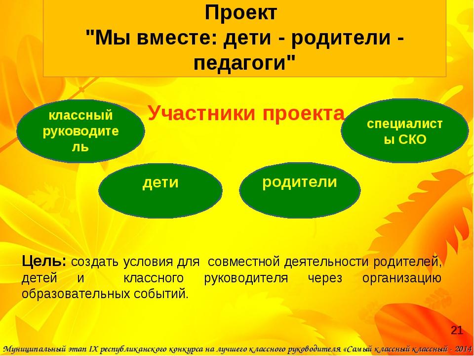 """Проект """"Мы вместе: дети - родители - педагоги"""" Участники проекта Цель: создат..."""