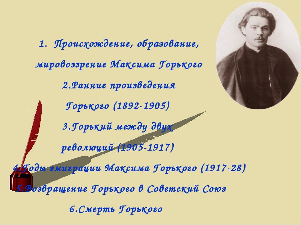Происхождение, образование, мировоззрение Максима Горького 2.Ранние произведе...