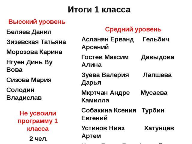 Итоги 1 класса Высокий уровень Беляев Данил Зизевская Татьяна Морозова Карина...