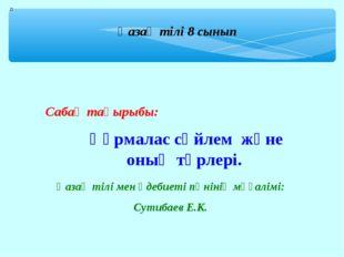 Қазақ тілі 8 сынып Сабақ тақырыбы: Қазақ тілі мен әдебиеті пәнінің мұғалімі: