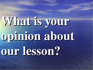 What is your opinion about our lesson?