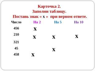 Карточка 2. Заполни таблицу. Поставь знак « х » при верном ответе. х х х х х