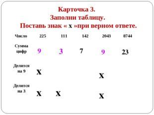 Карточка 3. Заполни таблицу. Поставь знак « х »при верном ответе. 9 3 7 9 23