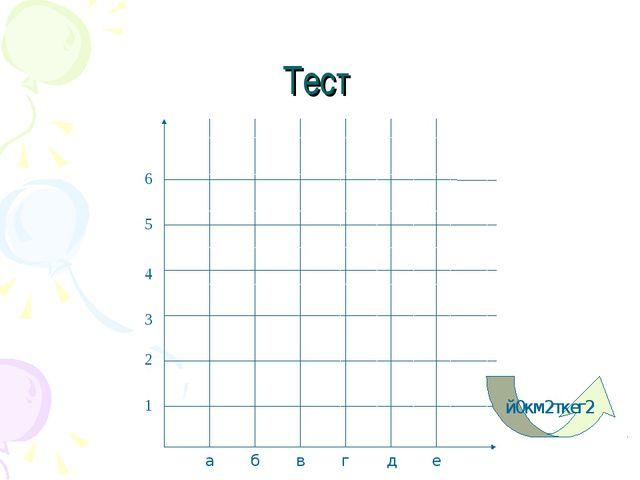 Тест 1 2 3 4 5 6 а б в г д е й0км2ткег2