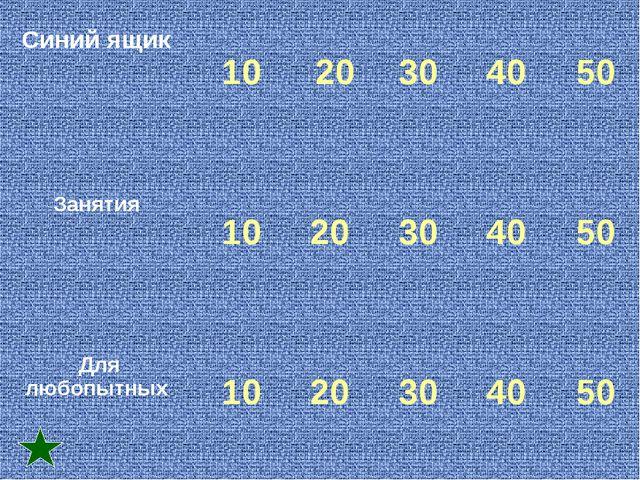 Синий ящик  10 20 30 40 50 Занятия  10 20 30 40 50 Для любопытных...