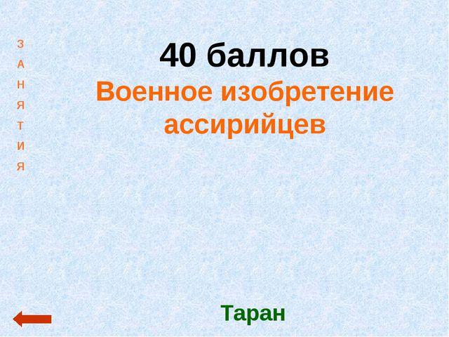 40 баллов Военное изобретение ассирийцев Таран З А Н Я Т И Я