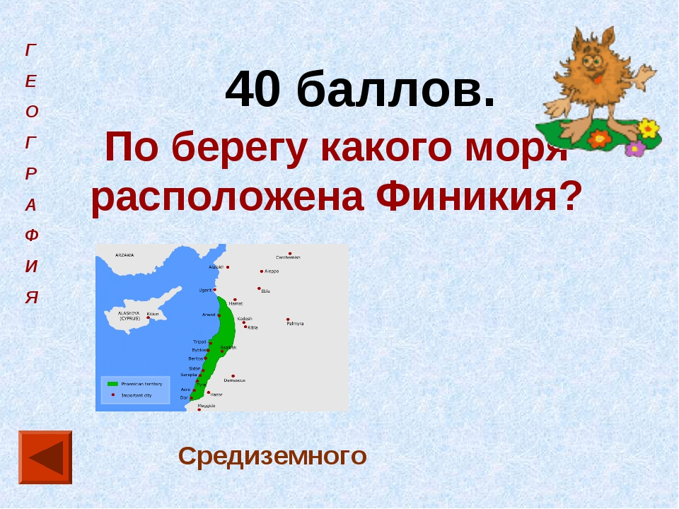 Г Е О Г Р А Ф И Я 40 баллов. По берегу какого моря расположена Финикия? Среди...