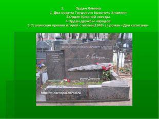 Орден Ленина 2. Два ордена Трудового Красного Знамени 3.Орден Красной звезды