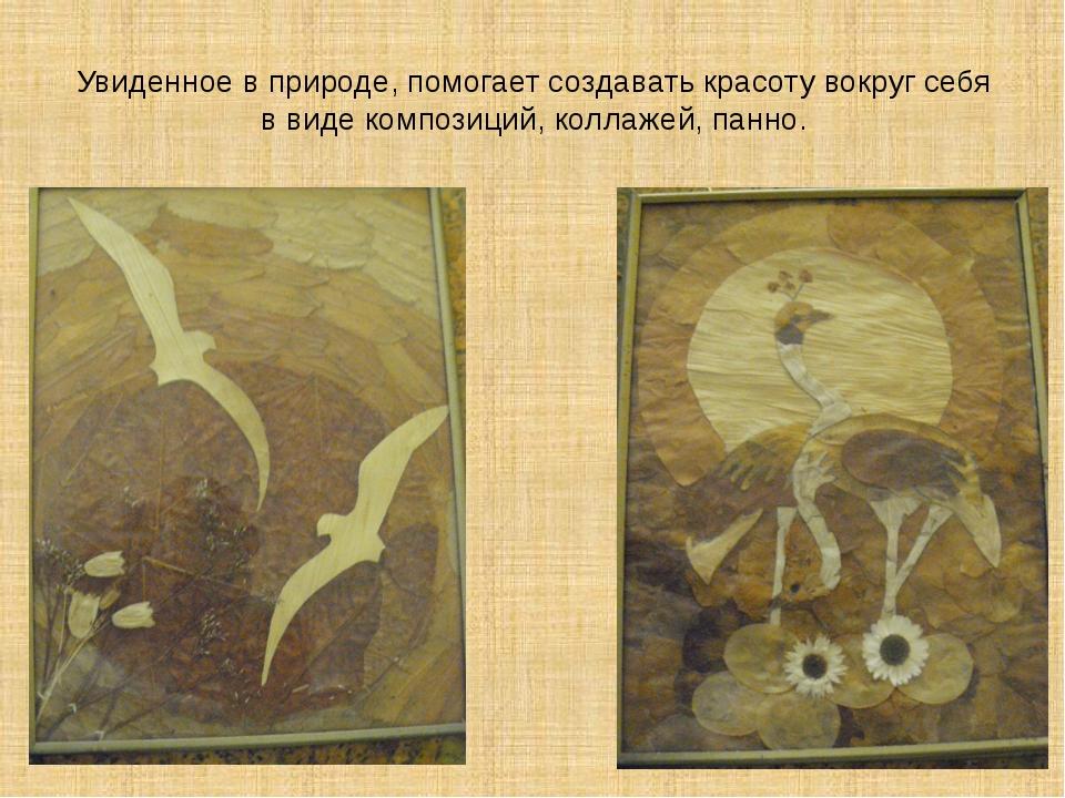 Увиденное в природе, помогает создавать красоту вокруг себя в виде композиций...