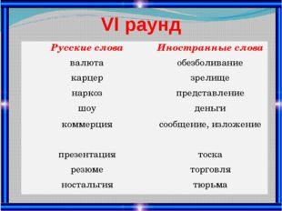 VІ раунд Русские слова Иностранные слова валюта обезболивание карцер зрелище