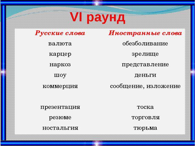 VІ раунд Русские слова Иностранные слова валюта обезболивание карцер зрелище...