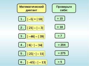 Математический диктант = 15 = 18 = 7 = 204 = 275 = 5 Проверьте себя: | –5| +
