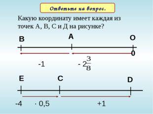 Какую координату имеет каждая из точек А, В, С и Д на рисунке? Ответьте на во