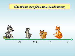 Назовите координаты животных. -5 0 1 6 х