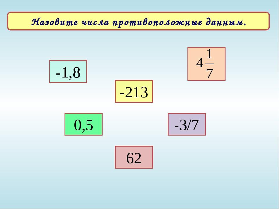 -213 0,5 -3/7 62 -1,8 Назовите числа противоположные данным.