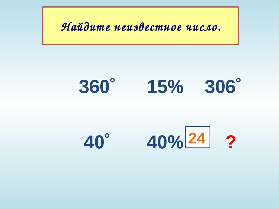 360˚ 15% 306˚ 40˚ 40% ? 24 Найдите неизвестное число.