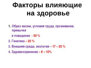 Образ жизни, условия труда, проживания, привычки и поведение - 50 % 2. Генети