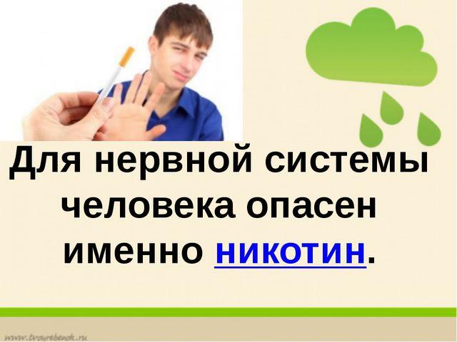 Для нервной системы человека опасен именно никотин.