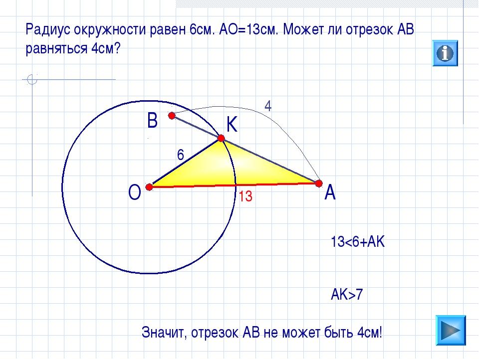 О В А Радиус окружности равен 6см. АО=13см. Может ли отрезок АВ равняться 4см...