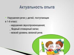 Нарушения речи у детей, поступающих в 1-й класс: - нарушения звукопроизношен